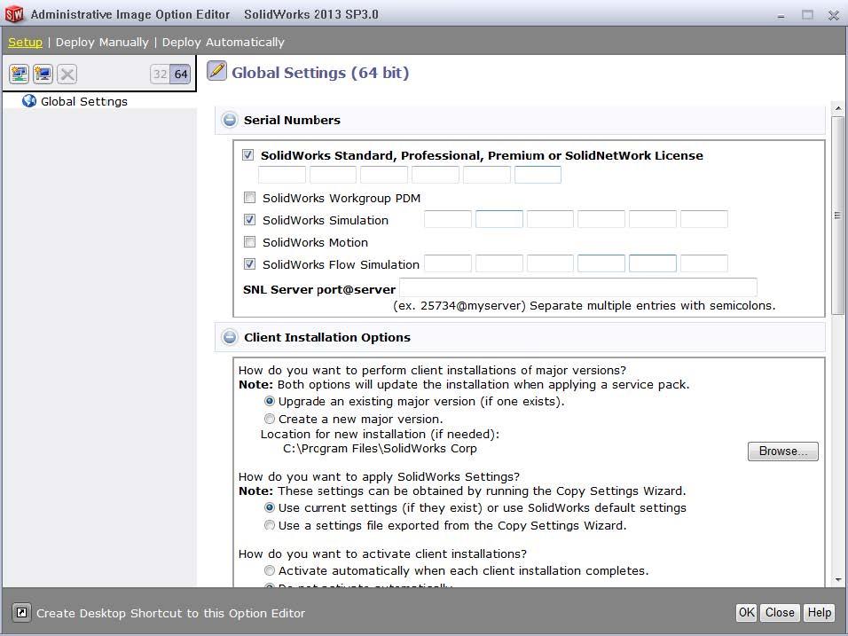 Global Settings Setup Admin Image Option Editor