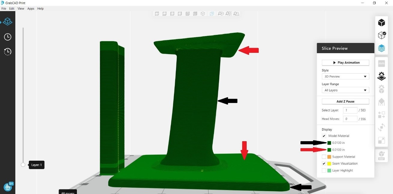 GrabCAD Print Adaptive Slicing Example