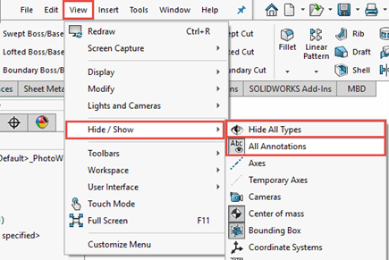 hide all types all annotations solidworks
