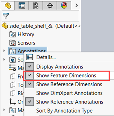 Hide/Show SOLIDWORKS Dimensions at Part Level