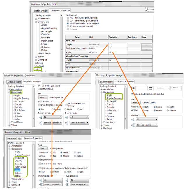 Hierarchy of SOLIDWORKS Diemsnions Precision Settings