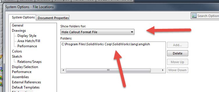 SOLIDWORKS  Hole Callout Format File