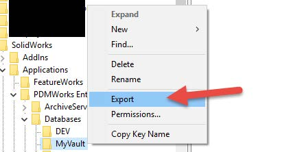 how to copy registry keys solidworks pdm