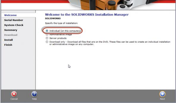 Individual SOLIDWORKS Email Installation