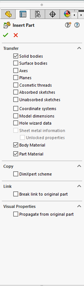 Insert Part Solid Bodies Option in SOLIDWORKS