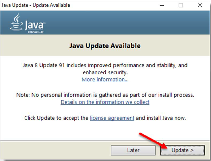 Java Update is Available Screen