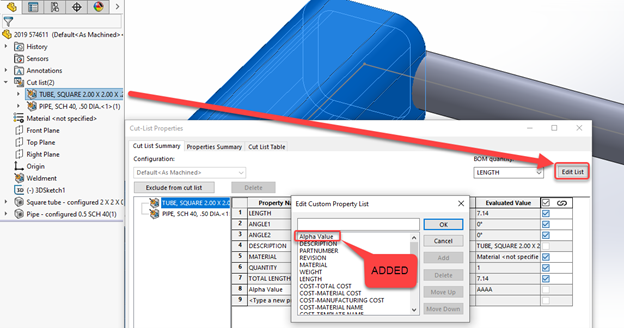 Linking a Custom Cut List Property to a SOLIDWORKS Drawing Balloon