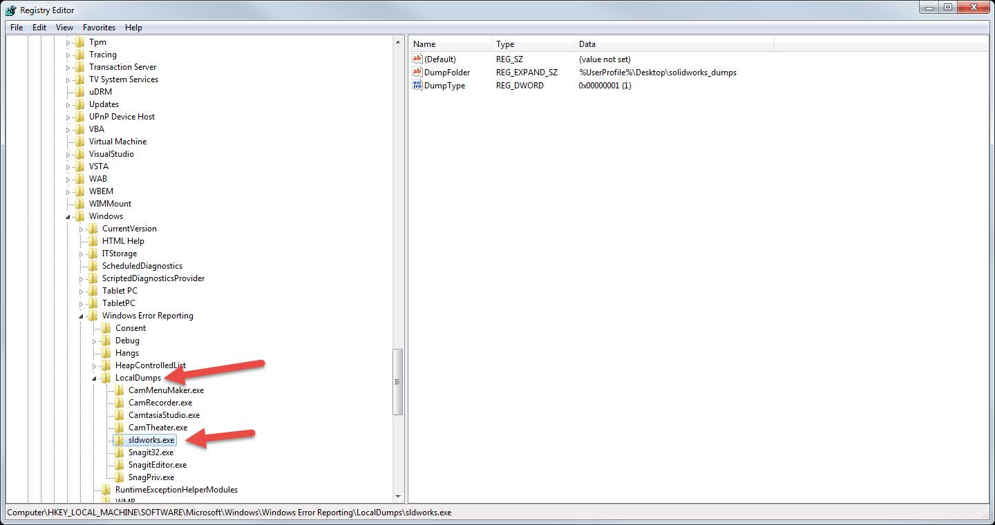 Location of LocalDump SOLIDWORKS Folders in Registry Editor