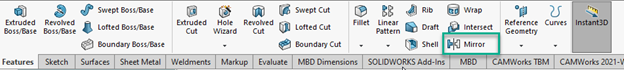 SOLIDWORKS Mirror Options CommandManager