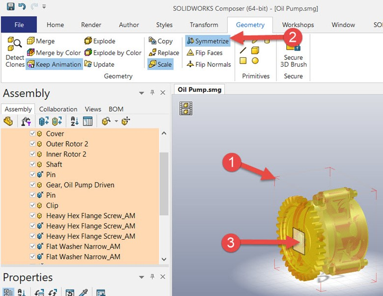 Mirror Parts with Symmetrize in SOLIDWORKS Composer