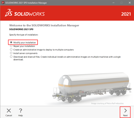 Modify Installation to Change Language in SOLIDWORKS
