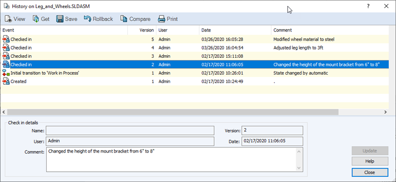 Modify Version Comments in SOLIDWORKS PDM