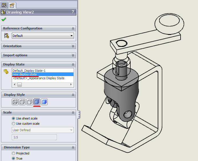 new display state in a drawing in solidworks