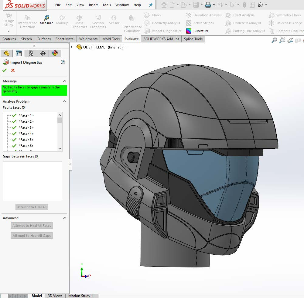 No faulty faces or gaps remain in the geometry message solidworks