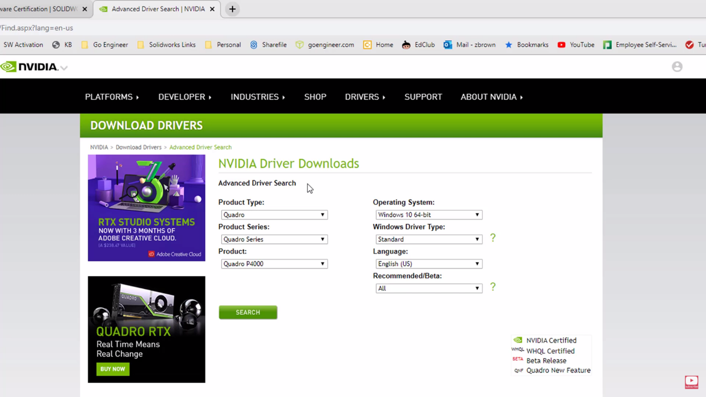 NVIDIA Download Drivers