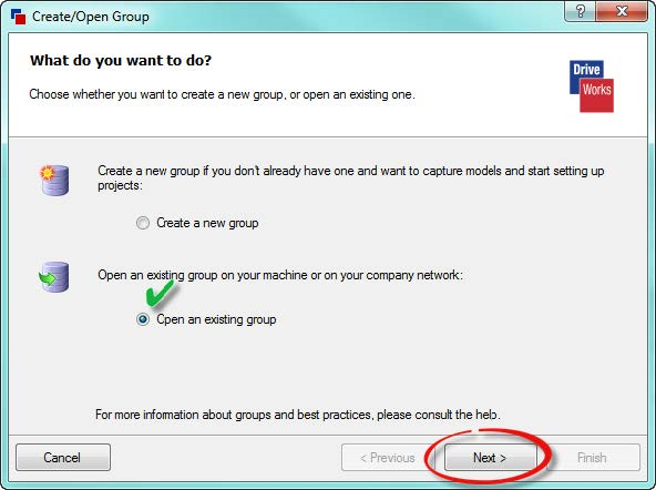 Open Existing Group in DriveWorks Pro