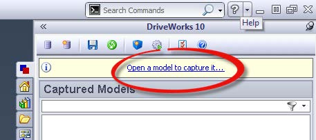 Open a Model to Capture SOLIDWORKS to DriveWorks