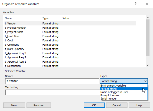 Organize Template Variables in SOLIDWORKS PDM
