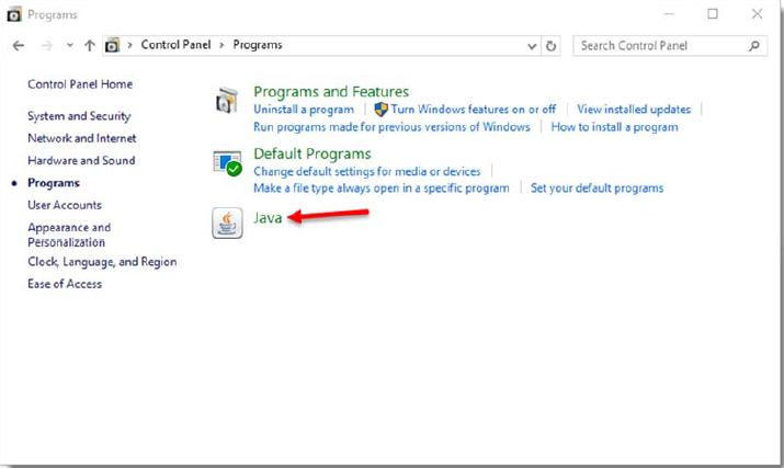 programs Window Java Selection