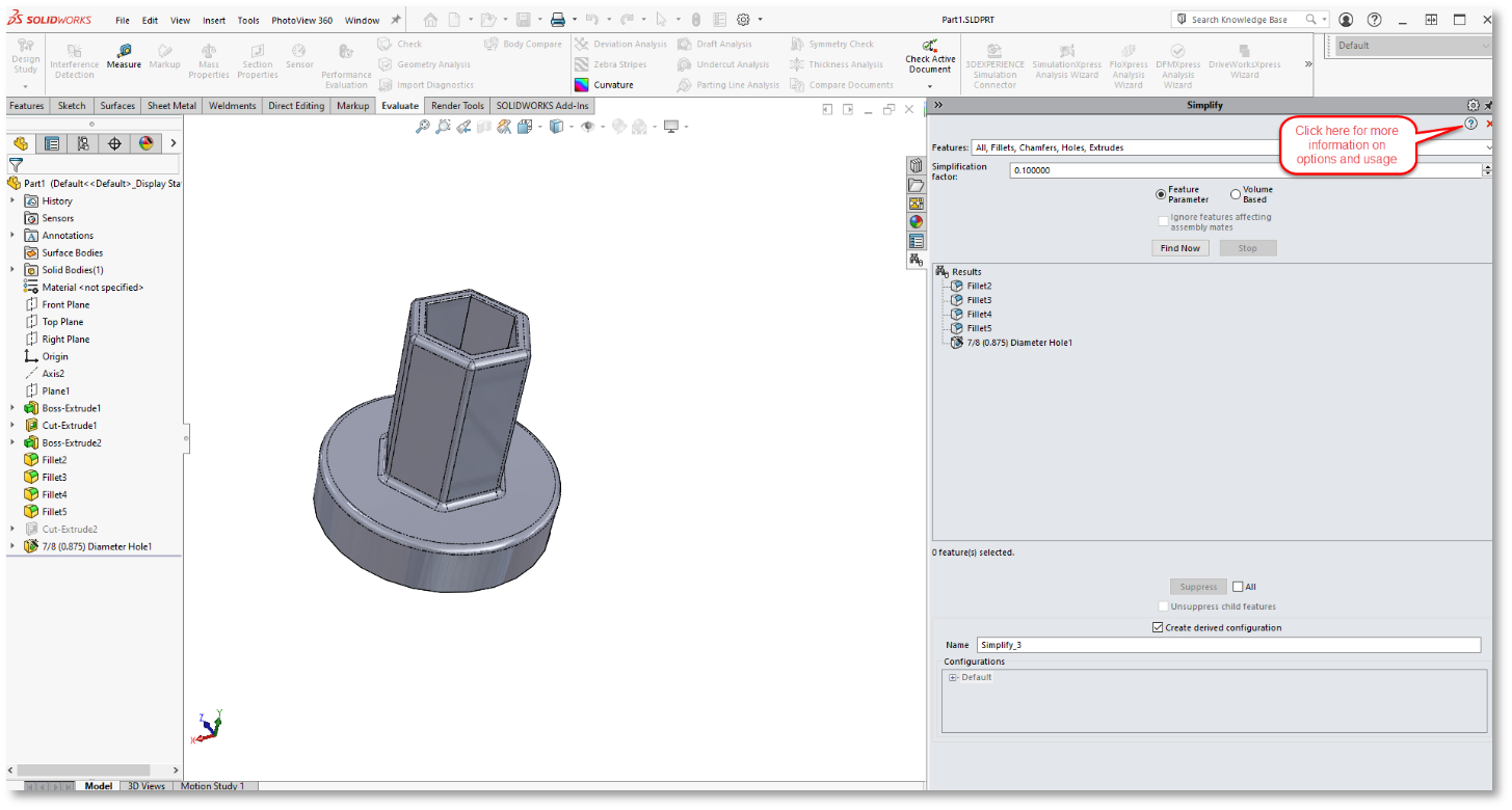 SOLIDWORKS PropertyManager and Simplify Utility