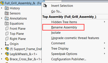 Rename a SOLIDWORKS Assembly File