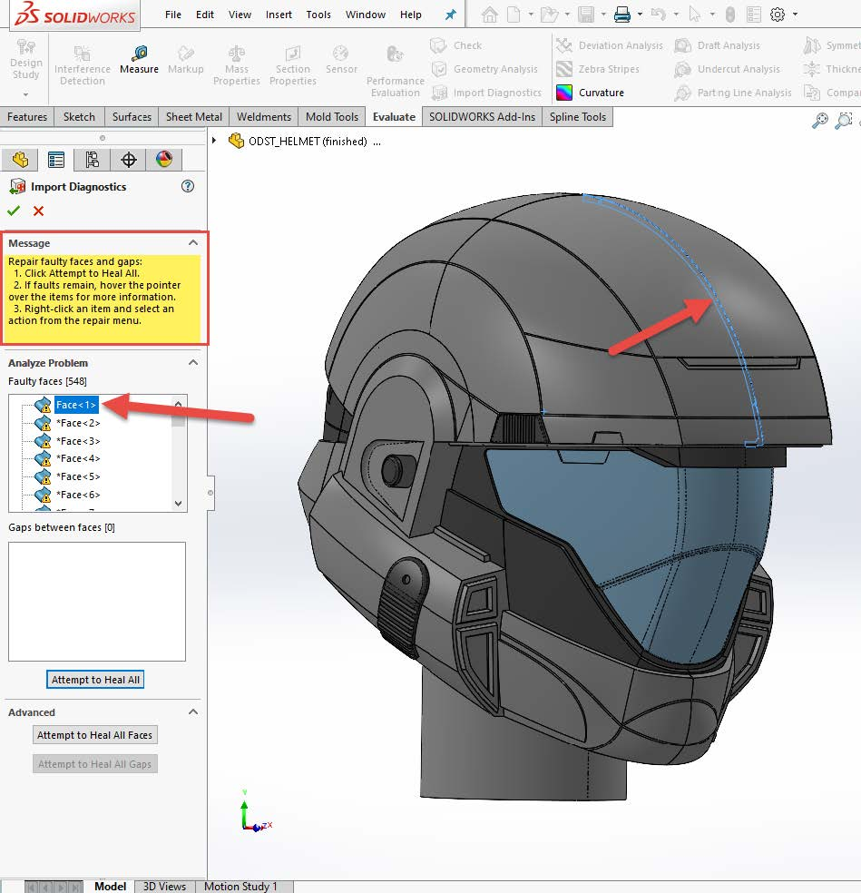 repair faulty faces and gaps solidworks message