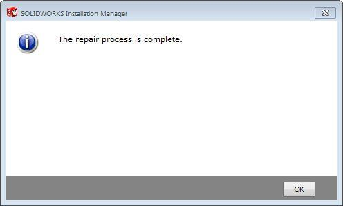 SOLIDWORKS repair is complete