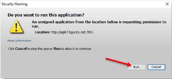 Run Java with Agile Security Warning