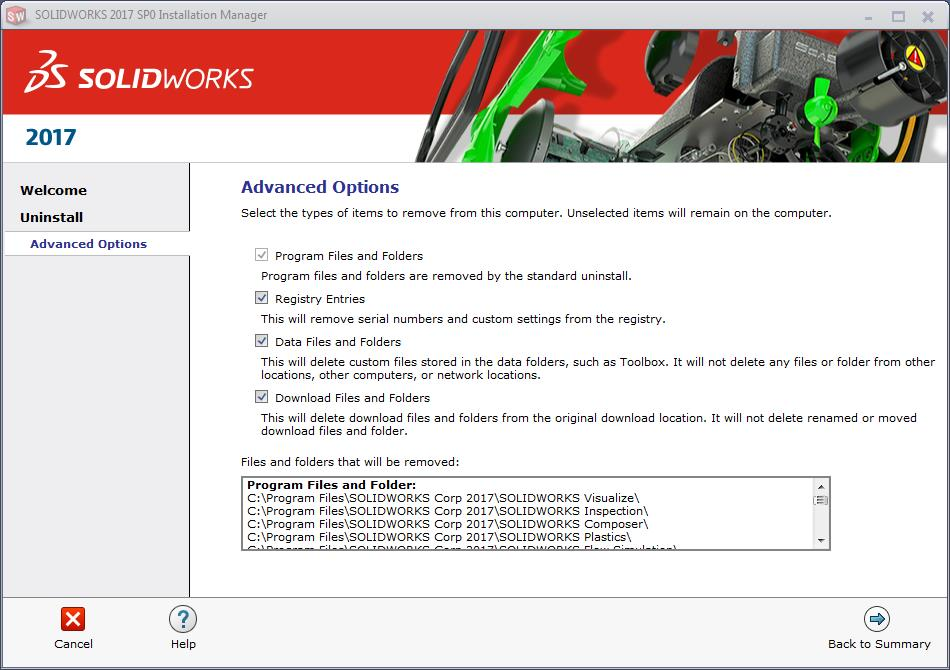 selecting the solidworks items you want removed from your computer
