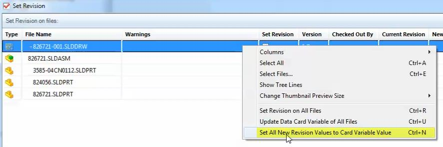 Set all New Revision Values in SOLIDWORKS PDM