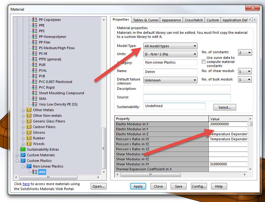 Set New Material Properties in SOLIDWORKS