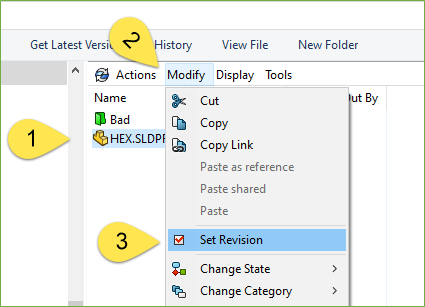 Set Revision Command in SOLIDWORKS PDM