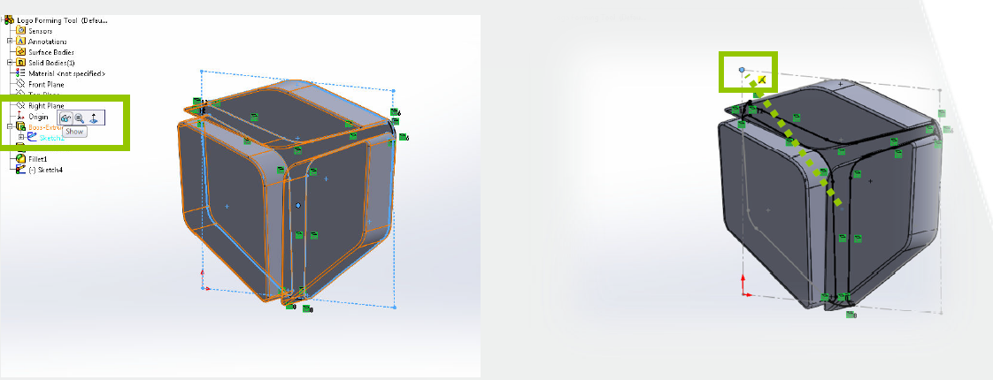 Showing Feature Sketch and Dragging Placement Point