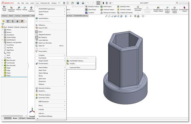Simplify Utility in SOLIDWORKS