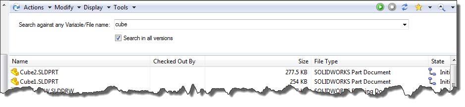 Single Textbox Search SOLIDWORKS Enterprise PDM