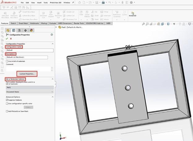 weldment configurations default