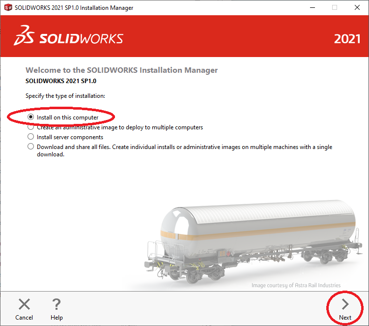 SOLIDWORKS Installation Manager Welcome Screen