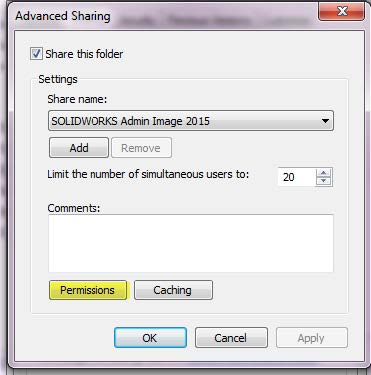 SOLIDWORKS Admin Image Advanced Sharing Permissions