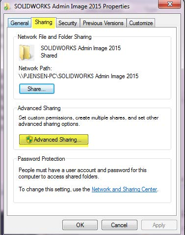 SOLIDWORKS Admin Image Advanced Sharing