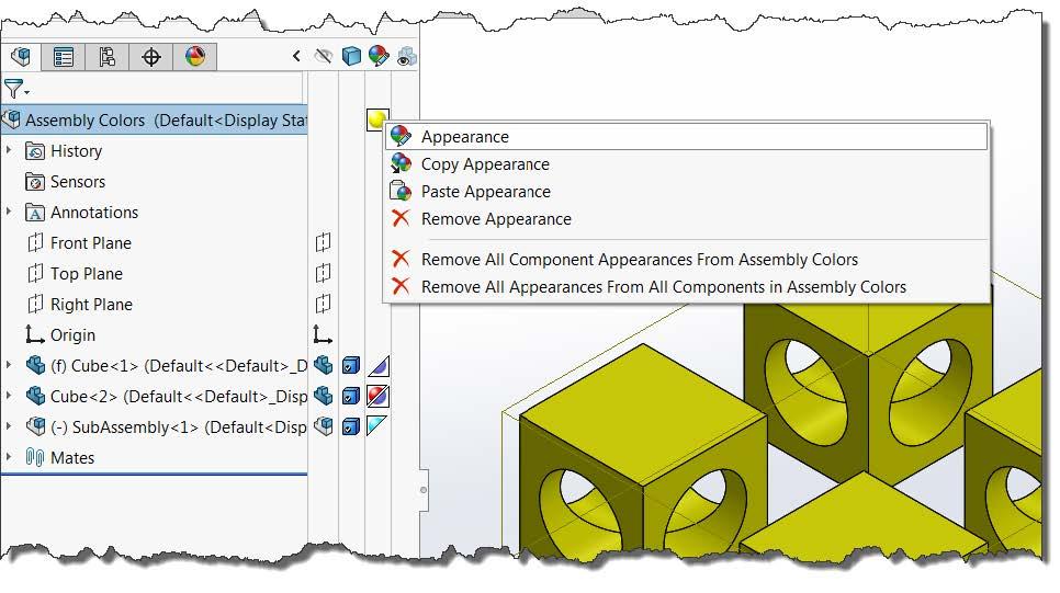 SOLIDWORKS Assembly Color Appearances