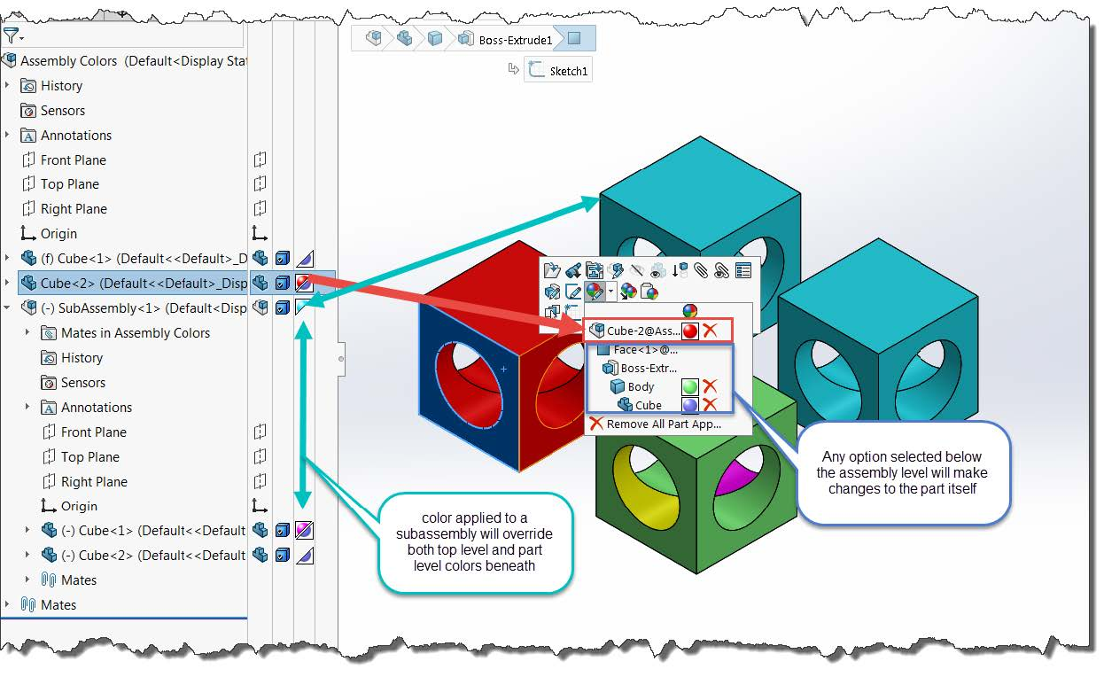 SOLIDWORKS Assembly Color Settings