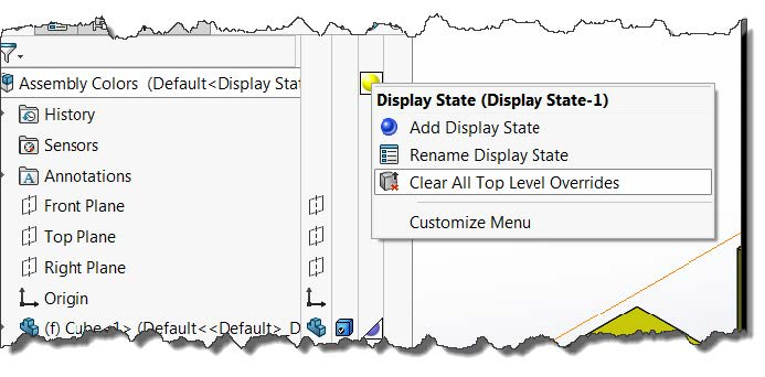 SOLIDWORKS Colors Clear All Top Level Overrides