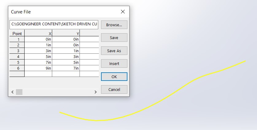 SOLIDWORKS Curve Like Popup Window