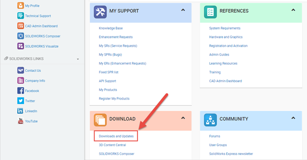 SOLIDWORKS Customer Portal Downloads and Updates