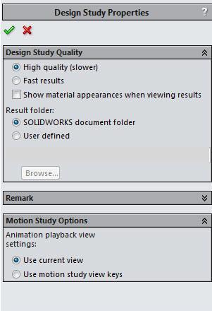 SOLIDWORKS Design Study Properties
