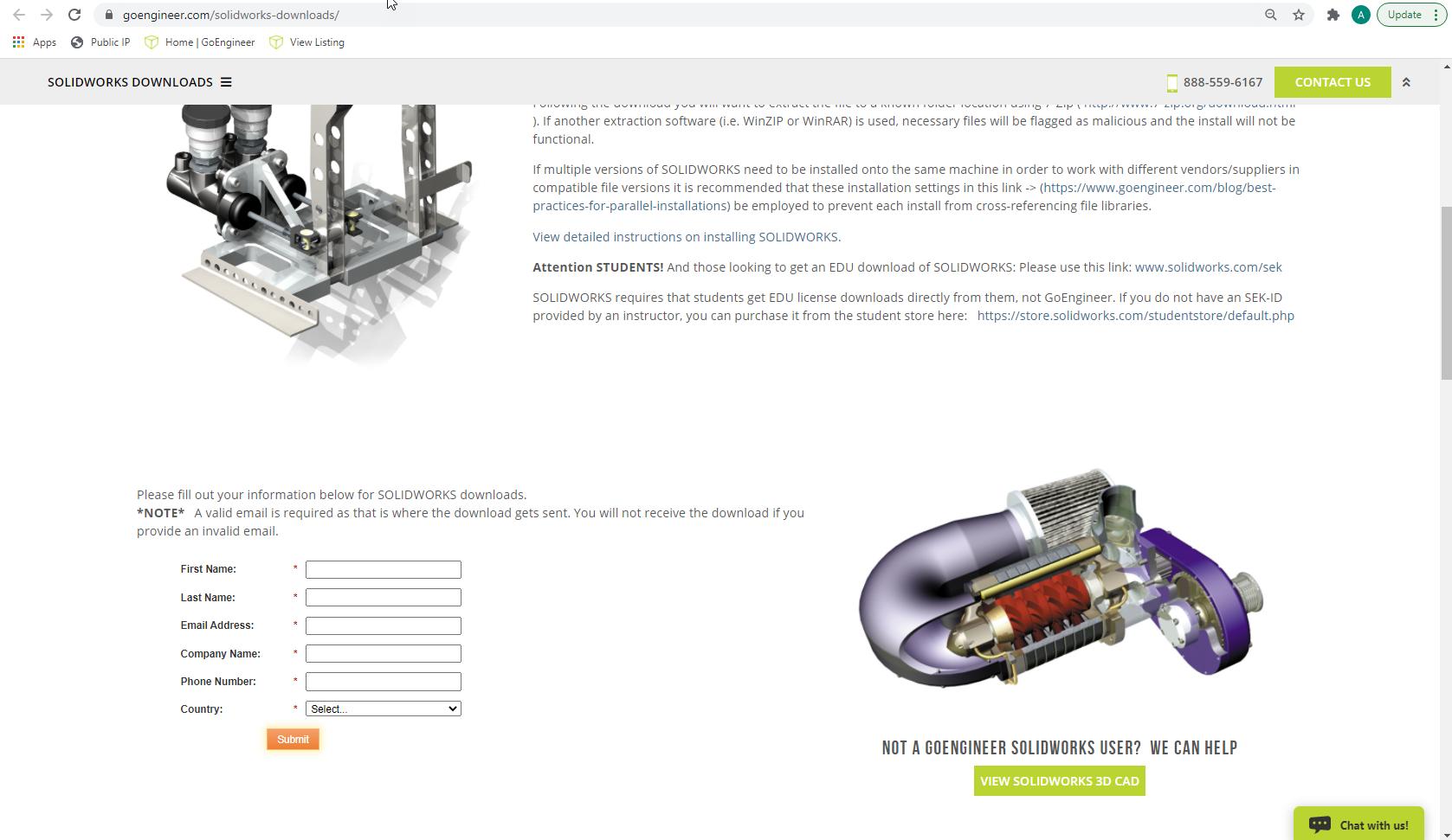 GoEngineer SOLIDWORKS Downloads Page