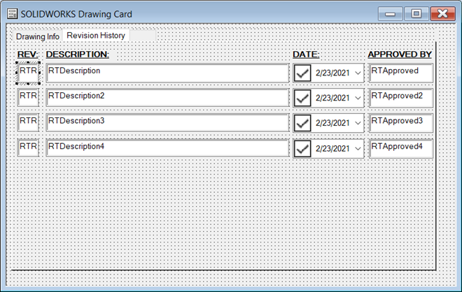 SOLIDWORKS Drawing Card Drawing Information