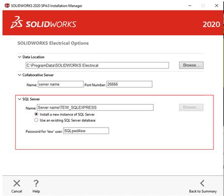 SOLIDWORKS Electrical 2020 SQL Server