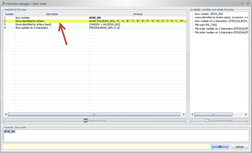 SOLIDWORKS Electrical Schematic Formula Manager Row Mark