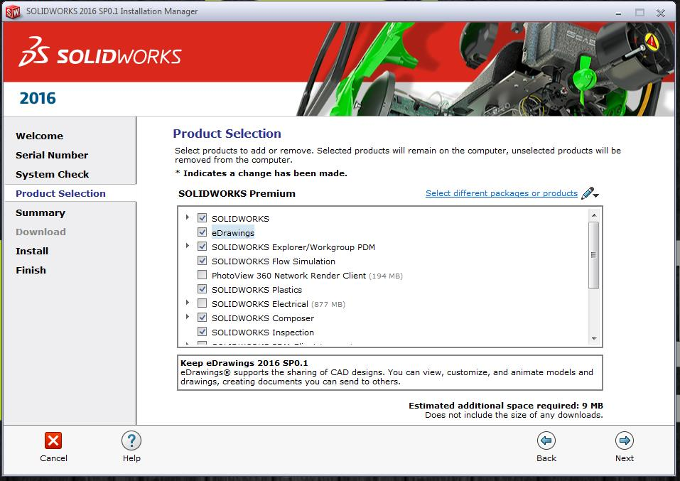SOLIDWORKS Email Installation Product Selection
